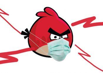 angry bird con la mascherina